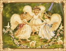 little girls angel photo canvas oil painting by numbers for wholeasles GX7296