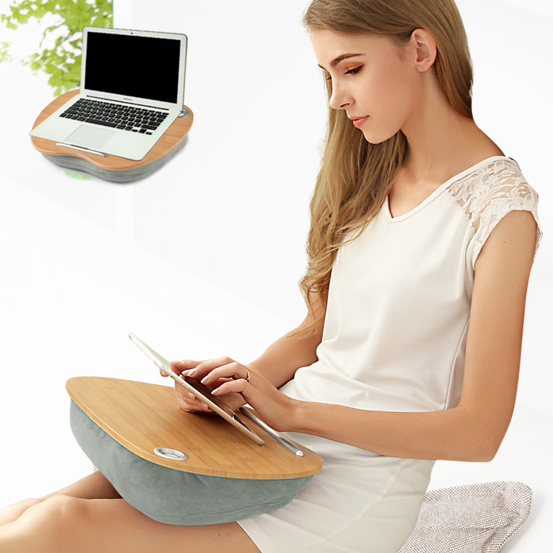 Apple shaped polystyrene beads stuffed knee laptop desk