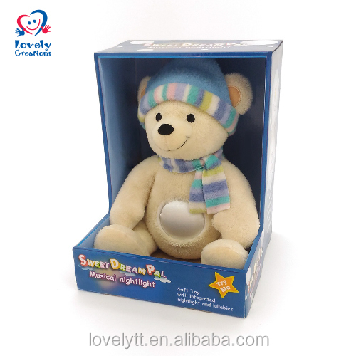 "8"" Glow In The Dark Plush Teddy Bear LED Touch Night Light Baby Toy With Music"