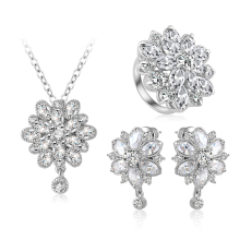 LZESHINE 2017 The Latest Fashion Flower Bridal Jewelry Sets Gold Plated CZ Diamond Engagement Jewellery Sets Wholesale CST0038