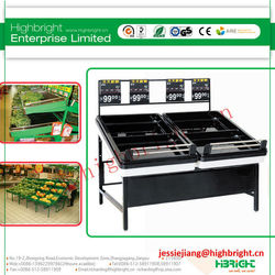 black color supermarket fruits and vegetable shelf