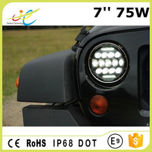 IP68 approved round 7inch 75W daytime running high low beam led driving headlight with low price