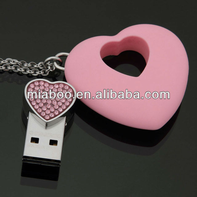 Romantic Love heart usb, pink usb heart, full capacity custom PVC usb 2.0
