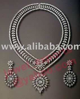 925 Silver AD / Zircon Necklace Jewelry Set