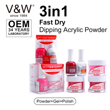 VW 3 In 1 Match Color Fast Dry Dipping Acrylic Powder Nails System Starter Kit Dip Powder Gel Polish For Dipping And Liquid