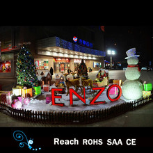 large Christmas scene decorations with christmas tree , snowman ,simulation deer for outdoor/indoor shopping mall/hotal decor
