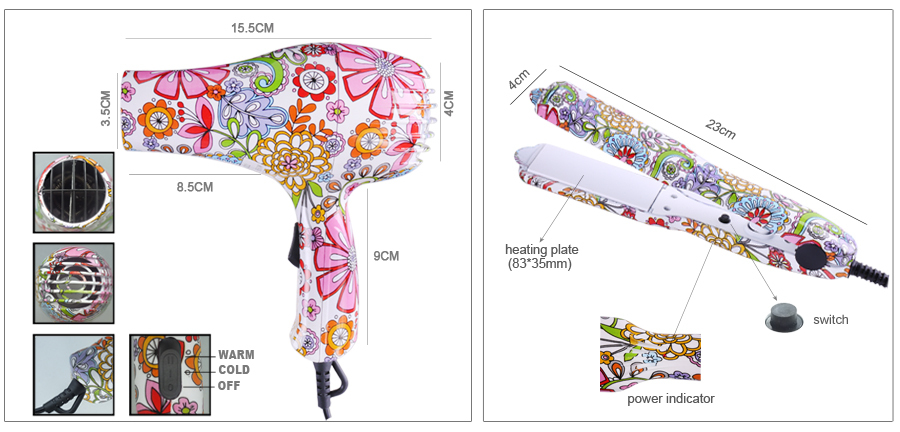 Colorful Printing Electric Mini Hair Dryer