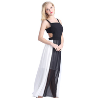 Long Women Black&White Chiffon Fabric Maxi Girls Sexy Night Dress Photos Nude Back Sexy Night Dress Styles For Women Night Dress