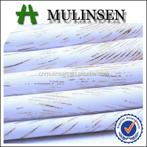 Mulinsen Textile 2015 New Fashion Golden Foil Knitting Polyester White Spandex Fabric