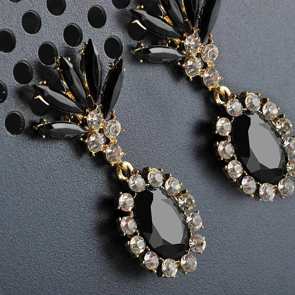fashion black jewel diamond luxury long chain big stup earring