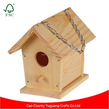 Yuguang Crafts Wholesale Cheap Customized Wooden Bird House with Hanging Chain