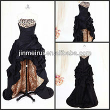 New Style Black Evening Dress A Line Taffeta Strapless Beaded Ruched Flowers Hi-Lo Leopard Print Evening Gown