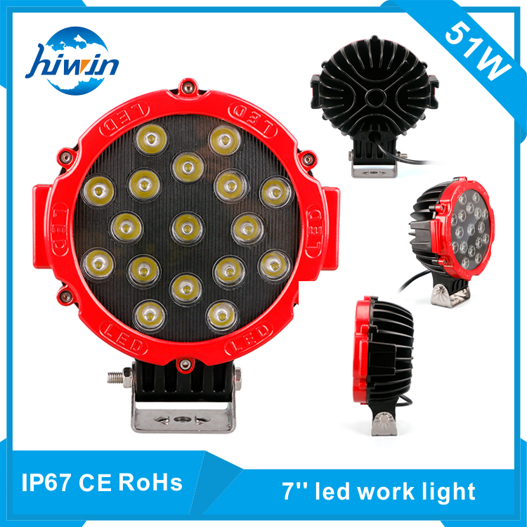 hiwin 51watt High Brightness 7inch wholesale marine led work light 51w <strong>crees</strong> HW-7051