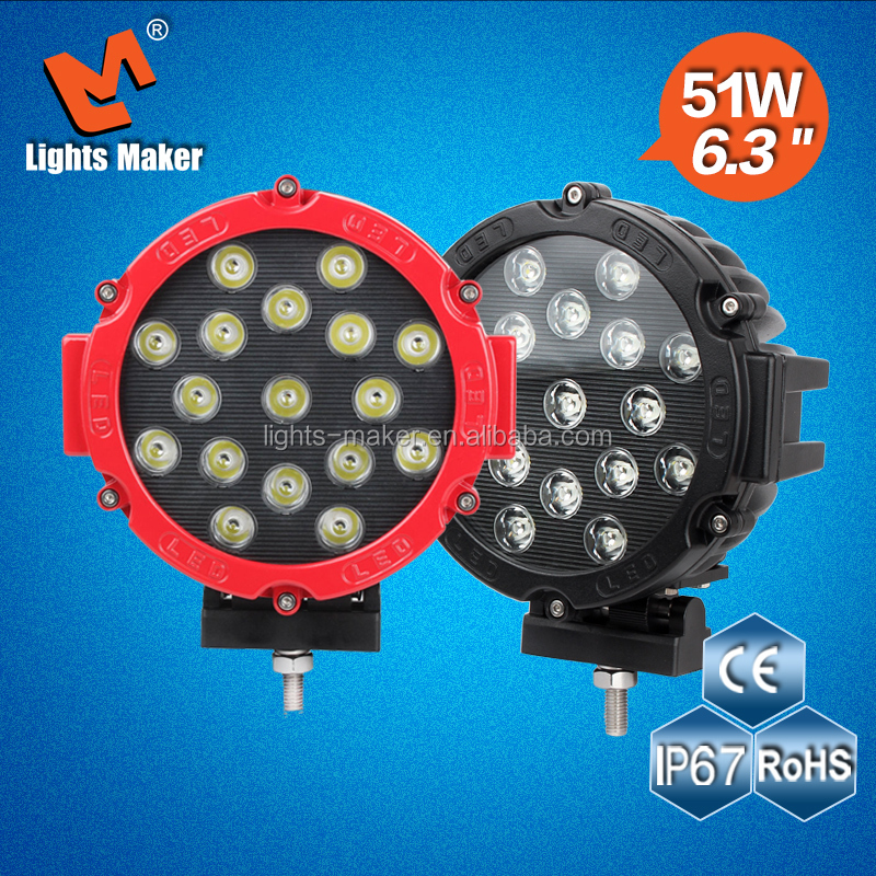 Factory price!! 6.3'' 51w led driving headlight, offroad led truck light, Jeep,aluminum led lamp car parts