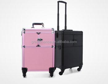 luxury makeup trolley case -hairdressing case - rolling cosmetic case