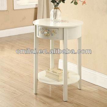 little round decorative table with drawers and storage board