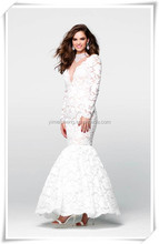 White sexy fishtail one piece women lace embroidered dress lady alibaba wedding gowns