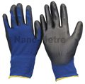 NMSAFETY 18 gauge knitted navy blue polyester liner coated black pu on palm gloves for light industry