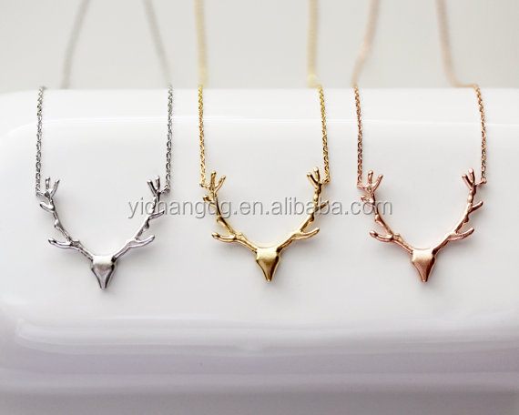 new year gift Silver, Gold, Rose Gold Deer Antler necklace Reindeer Jewelry