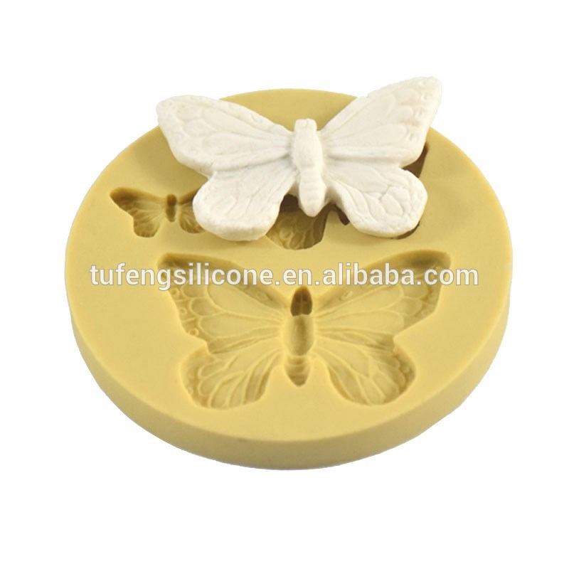 Cake decotating tools 3-cavity butterfly silicon fondant mold