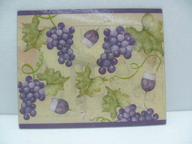 HOT SALE 12''X5'' GRAPE PATTERN TEMPERED GLASS CUTTING BOARD
