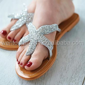 New Arrival Fashionable Starfish Beaded Sandals