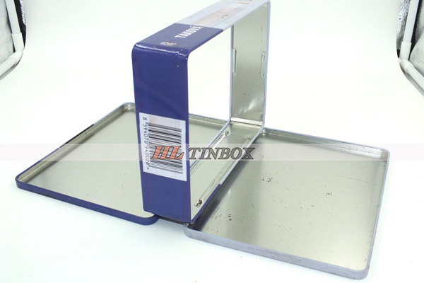 Rectangular CD DVD Metal Case Tin Box with Hinged