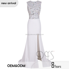 2017 Sexy white long tight beading bodice open front prom dress