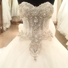 Heavy stone work lace bead women wedding dress bridal gown flower girl dresses