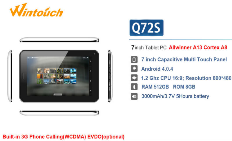 Wholesale 7 inch Q72S Wintouch Tablet PC 3G biult-in Allwinner A13 512MB+8GB Android Tablet