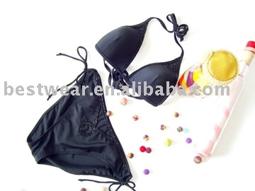 lady's knit bikini with beading moulded cup bikini tp & side tie brief
