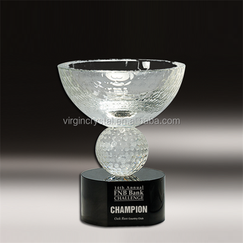 Big bowl shape crystal trophy cup crystal golf ball customized award prize