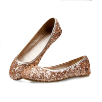 SAA6150 Lady flat shoes fashion cowhells sole shiny sequins women slip on shoes