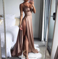 L2661A Sexy sleeveless backless evening women spaghetti strap v-neck backless high split long satin dress