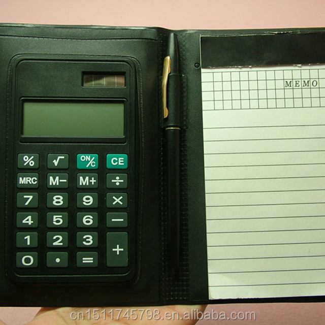 Small size leather cover flap calculator with pen and memo