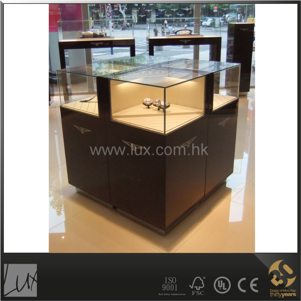 Elegant dark brown customized size glass tower display case
