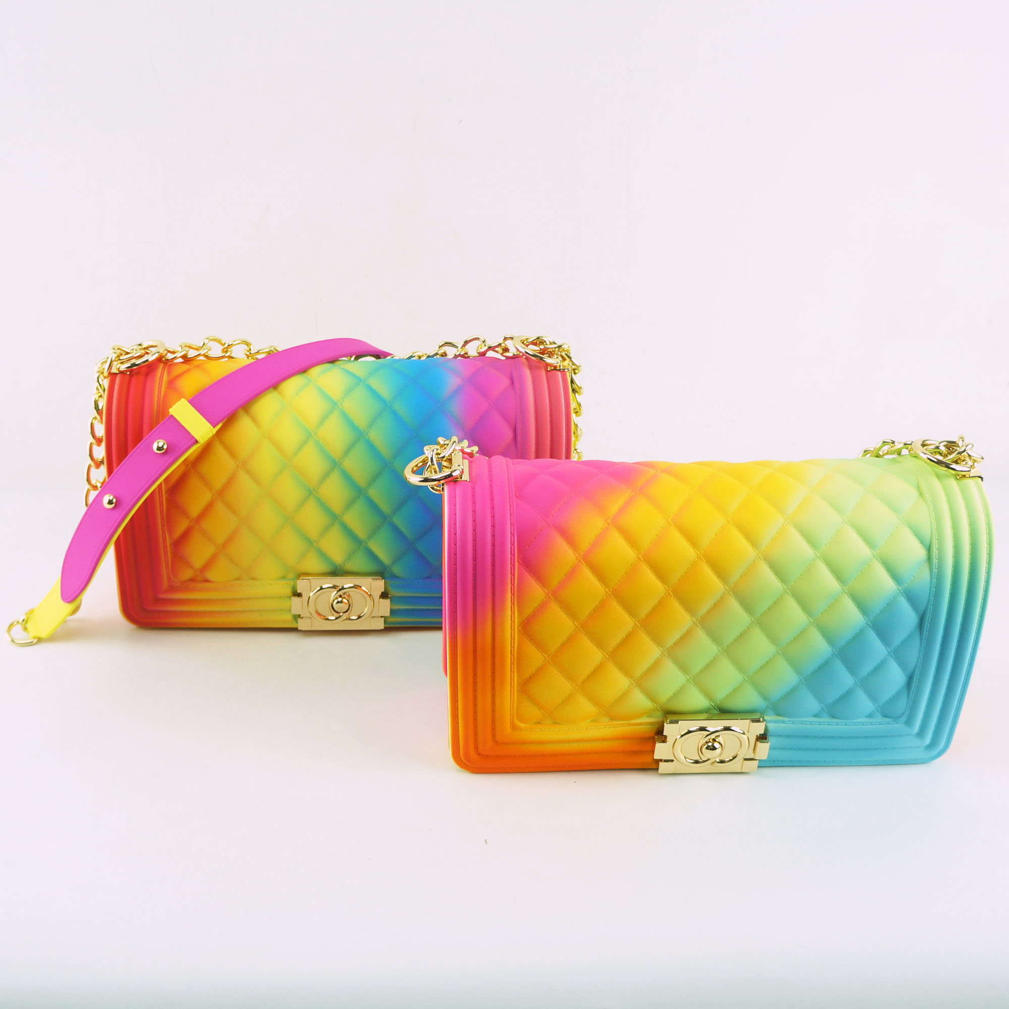 New arrivals rainbow color jelly bag purse for <strong>women</strong>