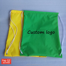 Best selling simple style green color polyester backpack promotional wholesale custom string bags for sale