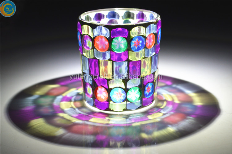 Mosaic Hurricane votive Glass Candle Holders tealight soy candle