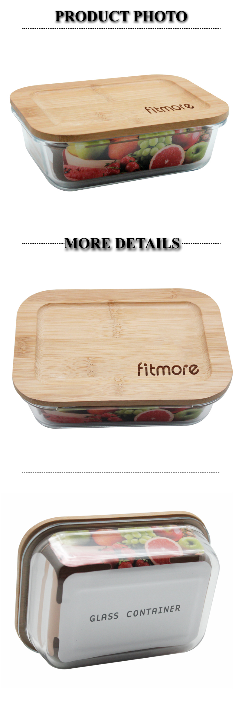 600ML Glass Food Container with Natural Bamboo Lid with Customized Laser Logo