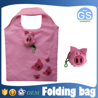 OEM factory direct suppy pig foldable shopping bag 190T polyester cheap