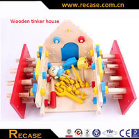 Mini kids early educational wooden toy house mom and baby playing house game