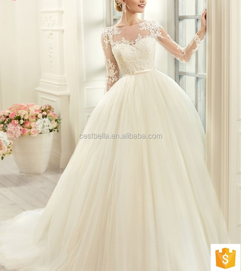 Lace long sleeve lace appliques ball gown white bridal wedding dress