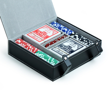Leather Playing Card Box with Playing Cards Dices and Chips