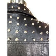 Metal Spikes Leather Jacket Women In Black Leather Jacket With Rivet