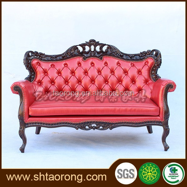 Luxury antique carving leather sofa
