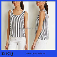 New summer striped shirt loose joker sleeveless tanktop wholesale girl's round neck sleeveless stripe t shirt