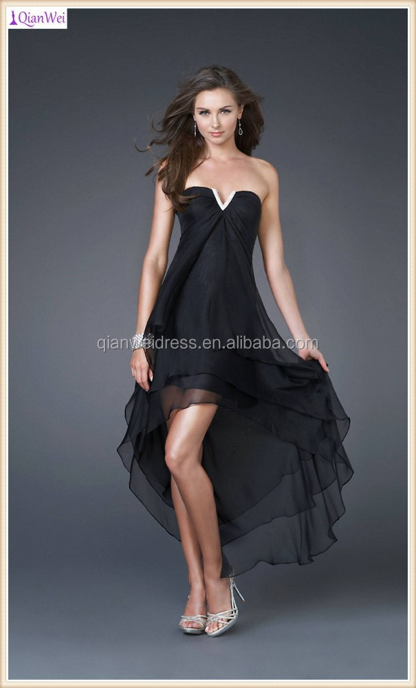 strapless black small V neckline high low hem chiffon cheap prom dresses with tiered skirts