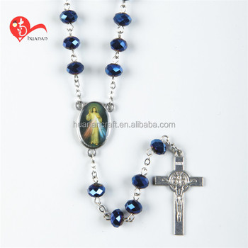 European style glass religious latest designs beads necklace designs rosaries catholic center piece