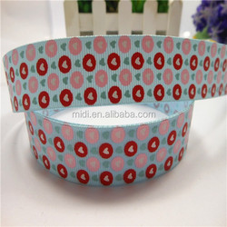 Four color print foil round dot with heart print fashion ribbon grosgrain